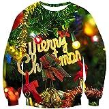 Goodstoworld Pull Noel Unisexe 3D Ugly Christmas Sweater à Manches Longues Fun Noël Elf Imprimé Sweat-Shirt S-XXL, B-merry Christmas, M