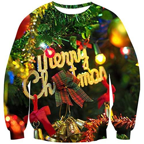 Goodstoworld Jersey Navideño Hombre Mujer Familia Christmas Jumper 3D Navidad Ropa Jolly Divertida Elfo Impreso Traje de Xmas L