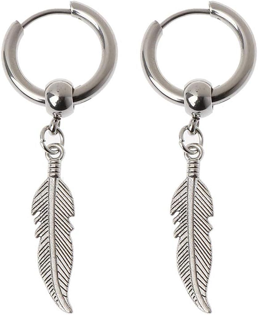Earrings, MingSheng Korean Jewelry Hip Hop Kpop Drop Earrings Leaf Pendant Dangle Chain Earrings Earrings for Men Earrings for Women