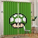 STTYE Cortina infantil Mario Bros verde Mushroom Pixel 2 cortinas para sala de estar, 2 paneles de cocina, café, 75 x 166 cm x 2 piezas