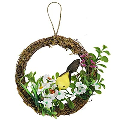 Athoinsu Artificial Easter Birds Wreath for Front Door Wall Rustic Spring Festival Garden Yard Decorations Party Supplies