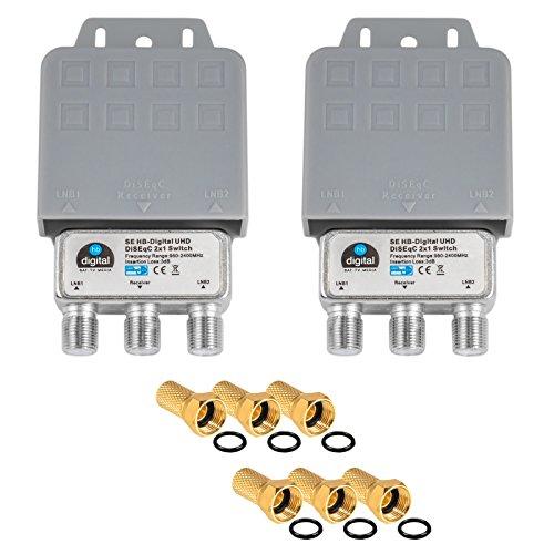 2X DiseqC Schalter Switch 2/1 mit Wetterschutzgehäuse HB-DIGITAL 2X SAT LNB 1 x Teilnehmer / Receiver für Full HDTV 3D 4K UHD + 6 x Vergoldete F-Stecker Vergoldet