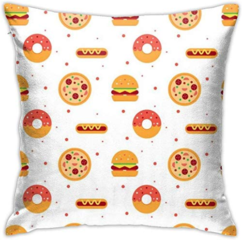 QISHUO Vector Flat Food Pattern Throw Pillow Cover Case Pillow Sofa Cushion Bed Home Decoration 18'x18'