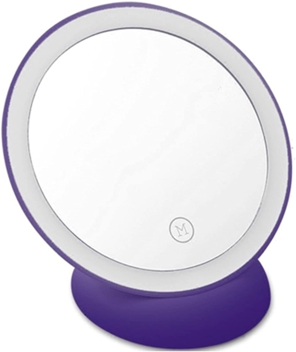 YD Mirror ABS Intelligent Filling Magnet Wall 360° Adjustable Compact and Convenient Not Wired Brightness Adjustable for Various Occasions Princess Dressing Mirror  & (color   Purple)