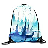 uykjuykj Coulisse Sacchetto,Zaino Coulisse Sacchetto, Drawstring Backpack Rucksack Shoulder Bags Gym Bag Travel Backpack Strawberries Popsicle Blue deer7 Lightweight Unique 17x14 in