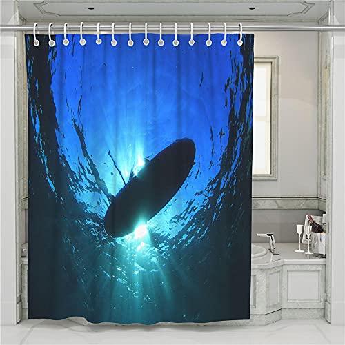 ZDPLL Cortina de Ducha Impresa en 3D Tabla de Surf en el mar Azul Cortinas de duche em poliéster impermeável, para la decoración del hogar 180x220cm