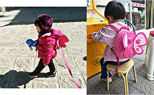 BTSKY Baby Butterfly with Wings Walking Safety Harness Reins Toddler Child Kid Strap Backpack Bag (Pink)