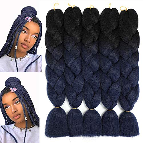 "Jumbo Ombre Braiding Hair Kanekalon Braids Hair Synthetic Braiding Hair Extensions for Box Twist Braiding with Free Gifts 24"" 5Pcs/Set 100G/Pc (Black/Dark-Blue)"