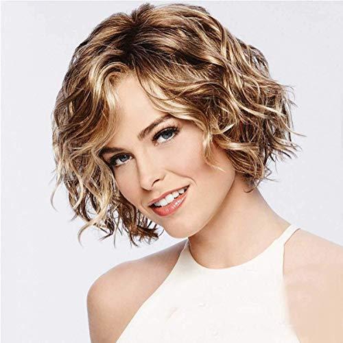 Womens Korte Krullen Pruik Haar, Mode Natuurlijke Gemengde Bruin & Blond Hoog Synthetisch Haar, voor Party Dagelijks Gebruik Pruiken, met Pruik Cap