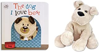 Plush Dog Animal Toy with Little Learners Finger Puppet Board Book - The Dog I love Best