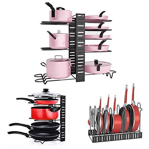 Fimghsoo Porta Coperchi Pentole Organizer per Pentole e Padelle Supporto per Pentole Organizzatore Mobile Cucina con 8 Scomparti Regolabili Altezza Regolabile…