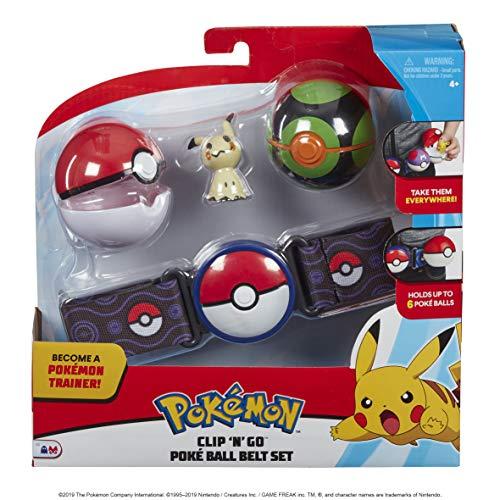 Pokémon 35931 Clip 'N Go riem met FINSTERBALL, POKÉBALL & MIGMA, originele speelset met Pokemonriem, 2 bokéballen en Pokemonfiguur, ca. 5 cm, Pokemon set voor Pokemontrainer vanaf 4 jaar, trainer