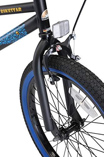 BIKESTAR Kinderfahrrad für Mädchen und Jungen ab 6-7 Jahre | 20 Zoll Kinderrad Kinder BMX Freestyle | Fahrrad für Kinder Schwarz & Blau - 4