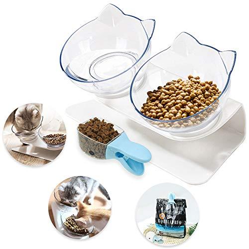 Yolistar Ciotola per Gatti Doppia con Supporto Rialzato, Ciotole per Animali Domestici con Coperchio Protettivo Anti Scivolo e Scodella per Alimenti per Animali Domestici
