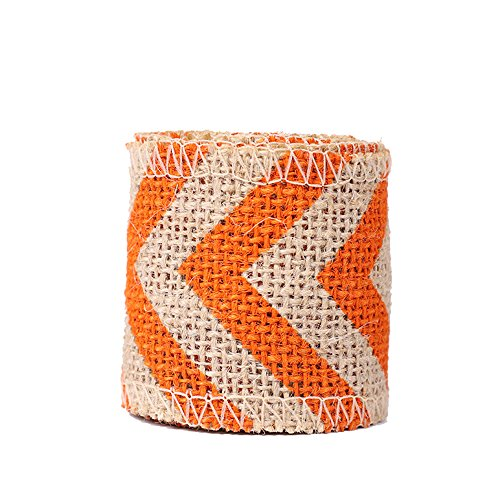 USIX 10 Yards Natrual Jute Burlap Ribbon Roll with Color Stripe Print for Arts Crafts DIY Gift Packing Flower Wrap Wedding Birthday Baby Shower Decoration (D4-7 Orange)