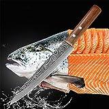 Durable y afilado Herramientas Cuchillo Chef Salmón rebanar cuchillo 440c japonés de alta carbón del acero inoxidable del cuchillo del cocinero Sashimi Sushi congelado Santoku de carne Bien hecho