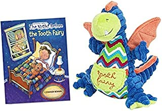 Drake the Dragon Stuffed Animal Tooth Fairy Pillow for Boys by Maison Chic with The Night Before the Tooth Fairy Book Gift Set