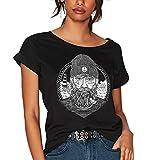 VIENTO Real Captain Camiseta para Mujer (Negro, M)