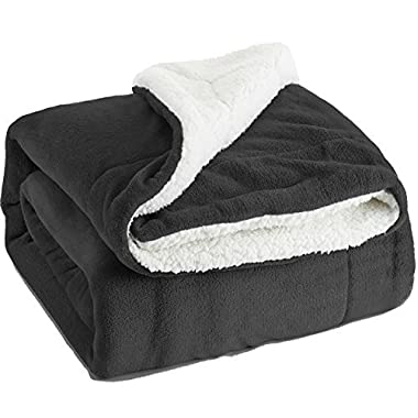 Sherpa Throw Blanket Dark Grey Throw size 50x60 Bedding Fleece Reversible Black Blanket for Bed and Couch