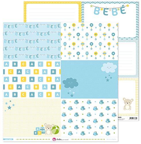 Anita y Su Mundo Colección Azul Bebé Papeles de Scrapbooking, Paper, 30.5 x 30.5 cm