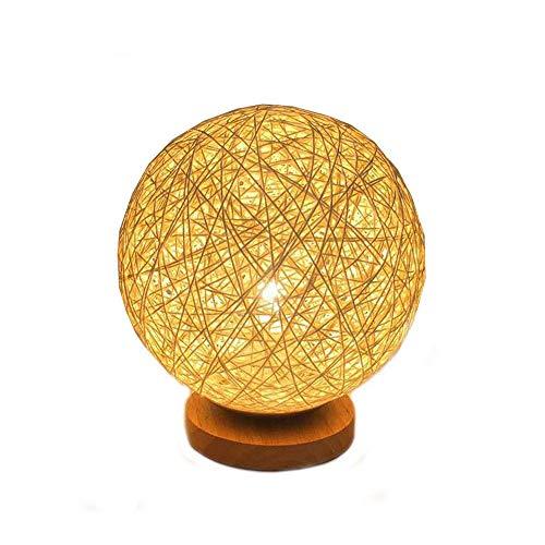 Powstro Rattan Tischlampe, Kreative LED Nachtlicht Lampe mit handgestricktem Lampenschirm Holz Schlafzimmer Dekorative Nachttischlampe- Golden