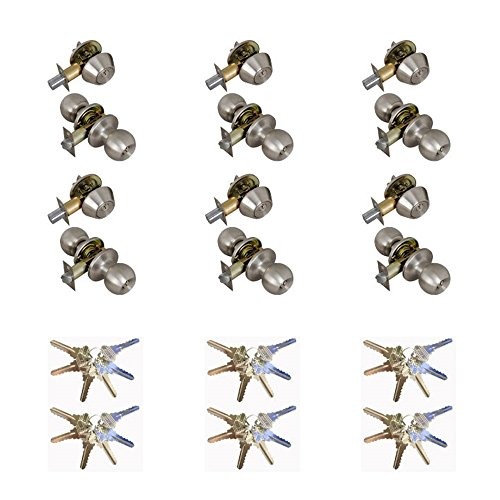 Grip Tight Tools ED03C-6, Set of 6 (Satin Stainless Steel) Combo Entry Lock Set Door Knob and Single Cylinder Deadbolt Alike: SC1 Keyway with 36 Keys Included