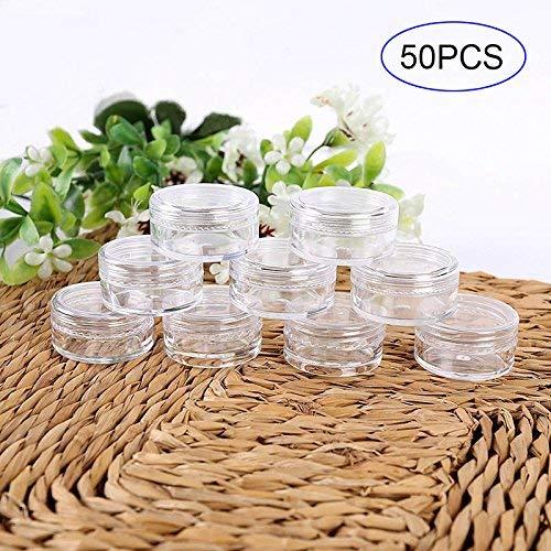 Rokoo 50 Stk. 3er Set/5g Kosmetik Leer Flasche Kreisformig Plastik Durchsichtig Probe Krüge Töpfe für Glitzer/Nail Art/Creme - 3g