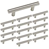 homdiy | 15 Pack 3in Hole Centers | Cabinet Handles Nickel Drawer Pulls Stainless Steel, Bar Handle Pull with Brushed Nickel Finish | Kitchen Cabinet Hardware/Dresser Drawers 201SN