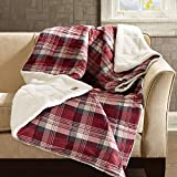 Woolrich Down Alternative Plaid Throw Premium Soft Cozy Spun for Bed, Couch or Sofa (50x70, Tasha Red)