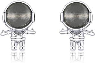 Cute Astronaut Sterling Silver Small Stud Earrings for Women Girls Men Personalized Unique Robot Saucerman Love Heart Stud...