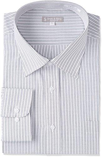 [ドレスコード101] 形態安定加工 ワイシャツ ビジネスでも カジュアルでも かっこよくきまるシャツ 長袖 豊富なサイズ レギュラー ボタンダウン ワイドカラー SHIRT-000 メンズ 43 グレーストライプ ワイド WD4005 首回り37cm裄丈80cm