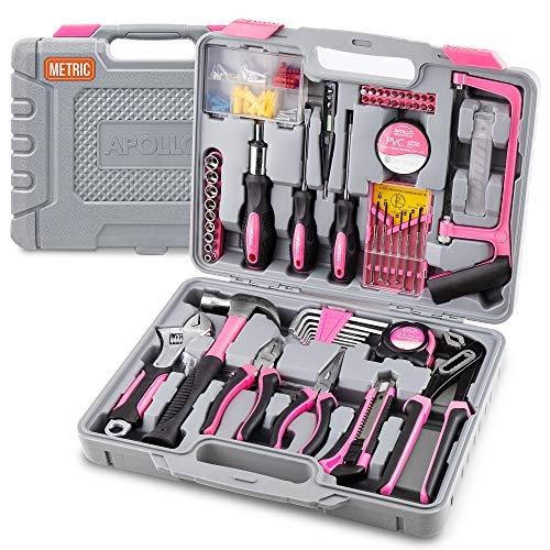 Apollo 120 teiliges Rosa Haushalts Werkzeugset mit den beliebtesten Rosa Werkzeugen: Zangen, Hammer, Maßband, Bügelsäge,...