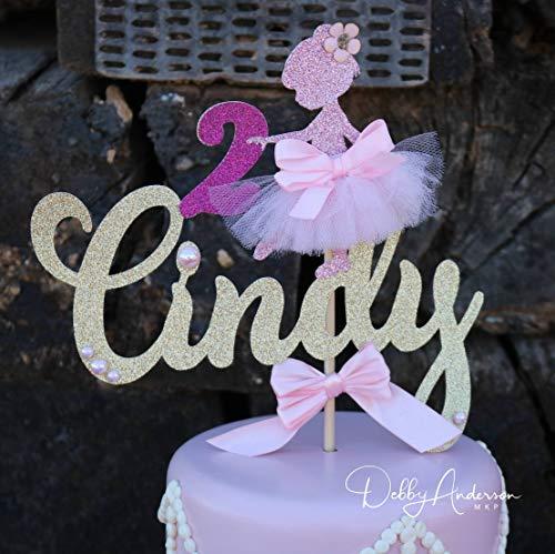 Ballerina - Decoración para tarta de bailarina de bailarina para cumpleaños, segundo cumpleaños, tercer cumpleaños, bailarina