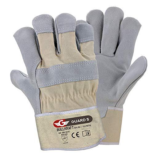 5 Paar Leder Handschuhe Premium Arbeitshandschuhe robuster Schutzhandschuh mit reißfester Canvas-Stulpe