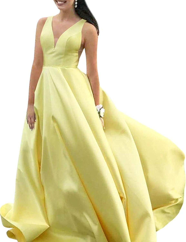 SUNFURA Women's Deep V Neck Long Formal Prom Evening Dress with Pockets