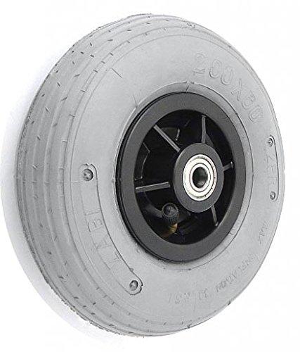 Zabi Luftrad Luftreifenräder für Rollstuhl, Rollator 2.00x50 Räder mit Luftreifen grauem Reifen 200x50 Kugellager Transportrollen