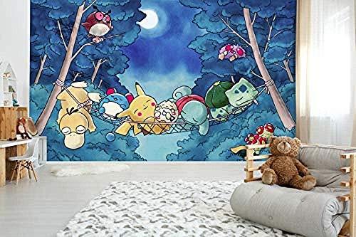 Peintures murales 3D pour Pokemon Japon Anime jeu papier peint Mural dessin animé amovible murale 200(L) x140(H) cm