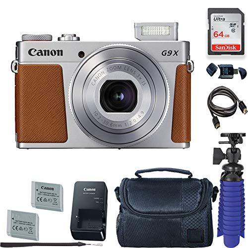 Canon PowerShot G9 X Mark II Digital Camera (Silver) with 64 GB Card + Premium Camera Case + 2 Batteries + Tripod