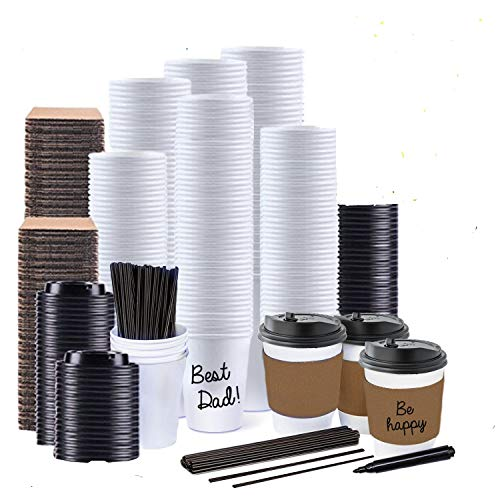 JUMBO VALUE SET of 130 Coffee Disposable Paper Hot Cups with Travel Leak Proof Lids, Heat Resistant Sleeves and Stirrers -12OZ WHITE PREMIUM quality THE BEST VALUE on Amazon