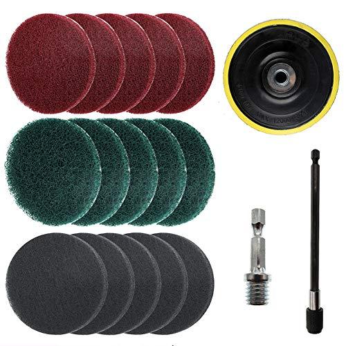 JJDD 17 Stuks 5 Inch Boor Power Scrub Pads Kit, Inclusief Pad Houder, Scrubbing Pads (rood, groen, grijs) met Extend Lange Bevestiging, Auto Polijsten Pad Set