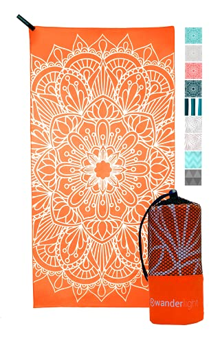 Wanderlight Microfiber Travel Towel – Quick Dry, Compact, Lightweight, Sand Free – Perfect for Beach, Camping, Backpacking, Sports, Gym, Yoga (Orange Mandala, Standard)