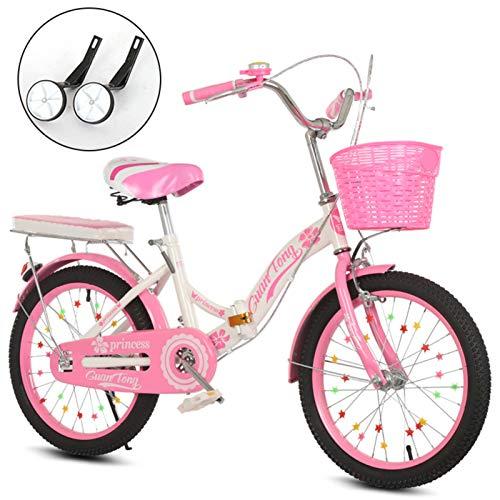 MIAOYO Plegable Bicicleta Infantil,Bicicleta Urbana con Asiento Ajustable Rueda Auxiliar,Ligero Mini Bicicleta...