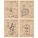 Vintage Science Lab Chemistry Patent Poster Prints, Set of 4 (8x10) Unframed Photos, Wall Art Decor Gifts Under 20 for Home, Office, College, Man Cave, School, Student, Teacher, Engineer, R&D Fan
