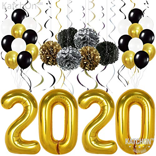 Graduations Party Supplies 2020 - Gold 2020 Balloons Pack of 49 | Gold Black Silver Hanging Party Swirls, Paper Pom Poms and Balloon | New Years Party Decorations | New Years Eve Party Supplies