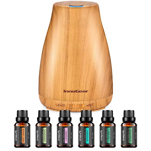 InnoGear Essential Oil Diffuser with Oils, 150ml Aromatherapy Diffuser with 6 Essential Oils Set, Aroma Cool Mist Humidifier Gift Set, Yellow