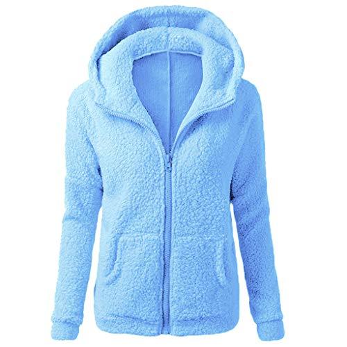 iHENGH Damen Herbst Winter Bequem Mantel Lässig Mode Jacke Frauen Kapuzenpullover Mantel Winter Warme Wolle Reißverschluss Mantel Baumwollmantel Outwear