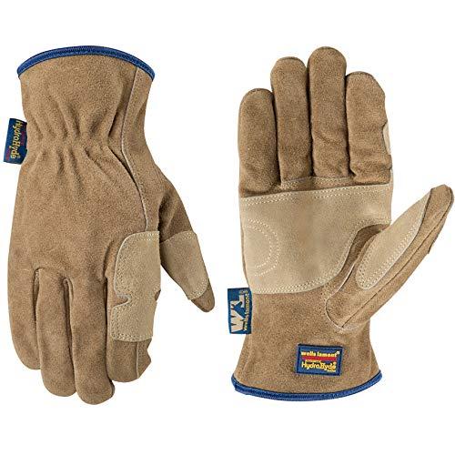 Men's Heavy Duty Genuine Leather Work Gloves, Water-Resistant HydraHyde, Large (Wells Lamont 1019)