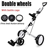 Golf Push Cart 3 Wheels Foldable Hand Cart Easy Push and Pull Cart