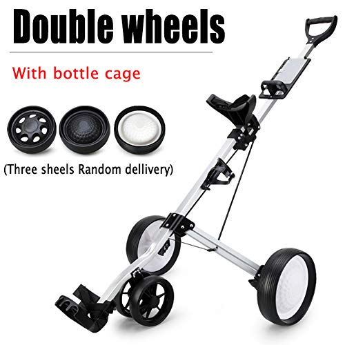 KXDLR Golf Push Cart 3 Wheels Foldable Hand Cart Easy Push and Pull Cart Trolley with Score Board, Quick Open and Close Golf Pull Cart