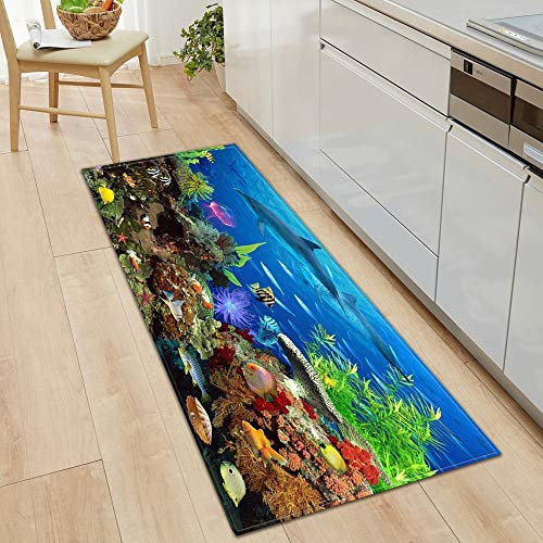 HLXX Alfombra de Piso de Cocina Ocean World Alfombra de Sala de Estar Alfombra de Puerta de casa Decoración de Piso de Dormitorio Alfombra Antideslizante de baño A9 50x80cm